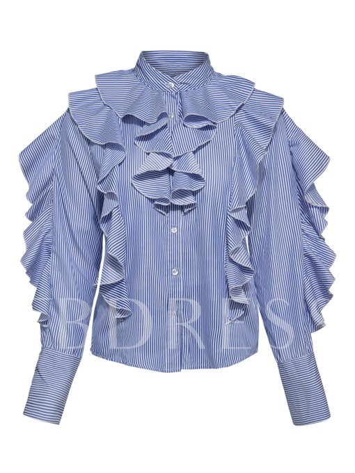 Ruffle Sleeve Stripe Falbala Women's Blouse