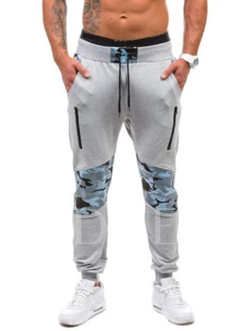 Lace-up Camouflage Patchwork Leisure Men's Casual Pants