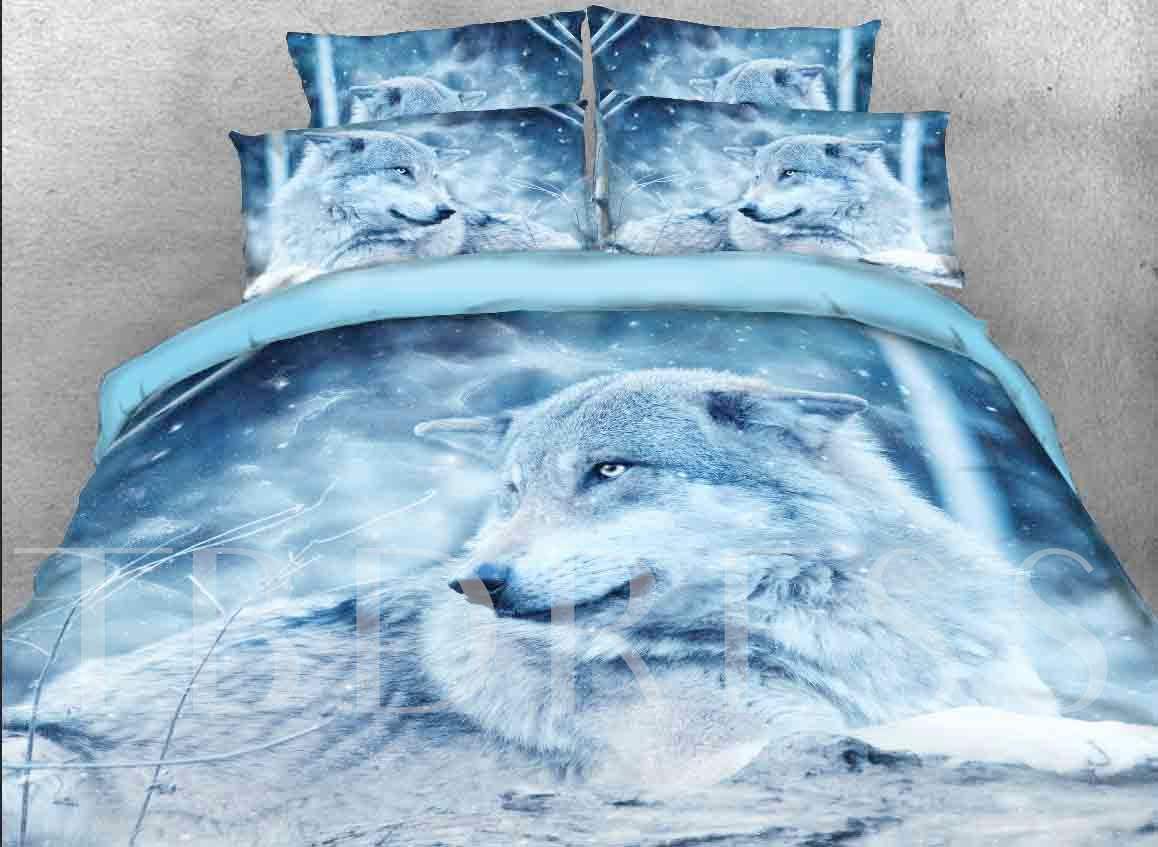 Wolf in the Wild Printed Cotton 4-Piece 3D Bedding Sets/Duvet Covers