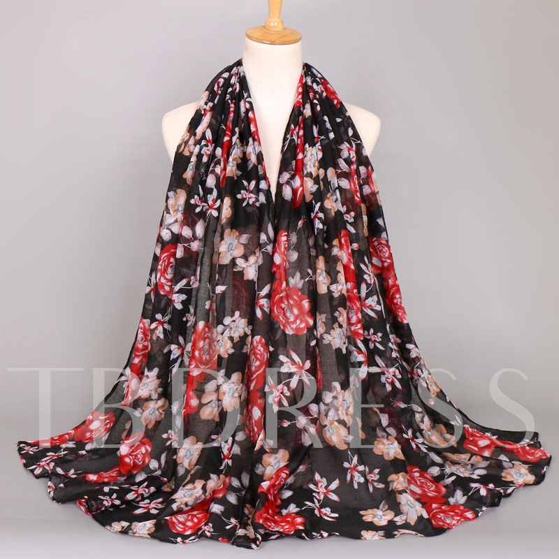 Voile Plant Sunshade Ethnic Style Printing Scarfs