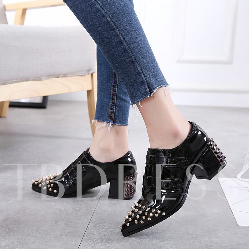 Patent Leather Chunky Heel Rivet Plain Pumps For Women