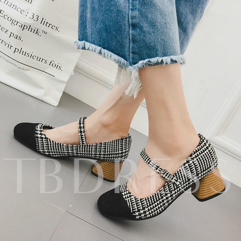 Houndstooth Square Toe Chunky Heel Buckle Women's Pumps
