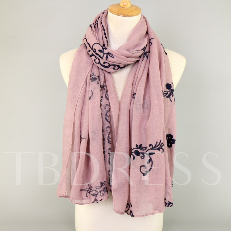 Vintage Embroidery Cotton Solid Color Scarfs
