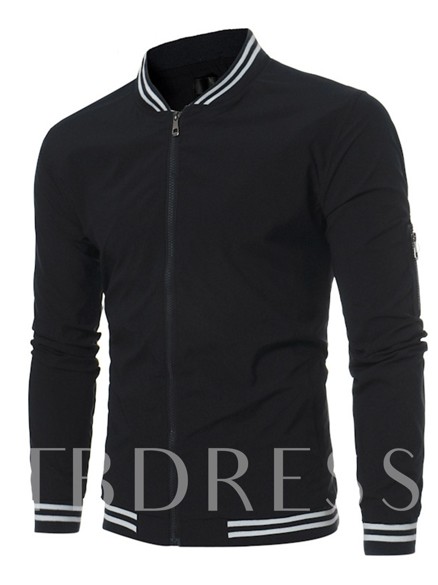 Buy Stand Collar Stripe Patchwork Plain Slim Fit Men's Casual Jacket, Fall,Winter, 12951479 for $27.99 in TBDress store