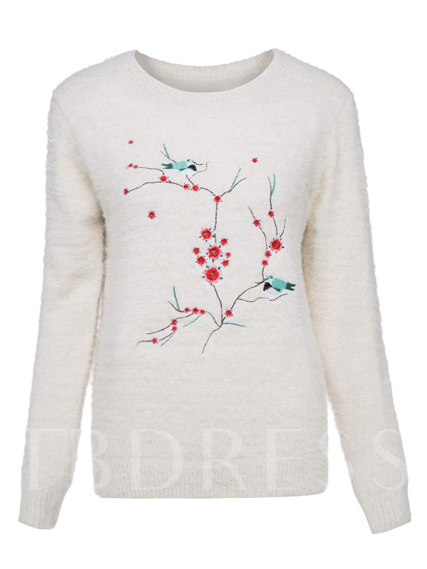 Vacation Round Neck Plant Embroideried Women's Sweater