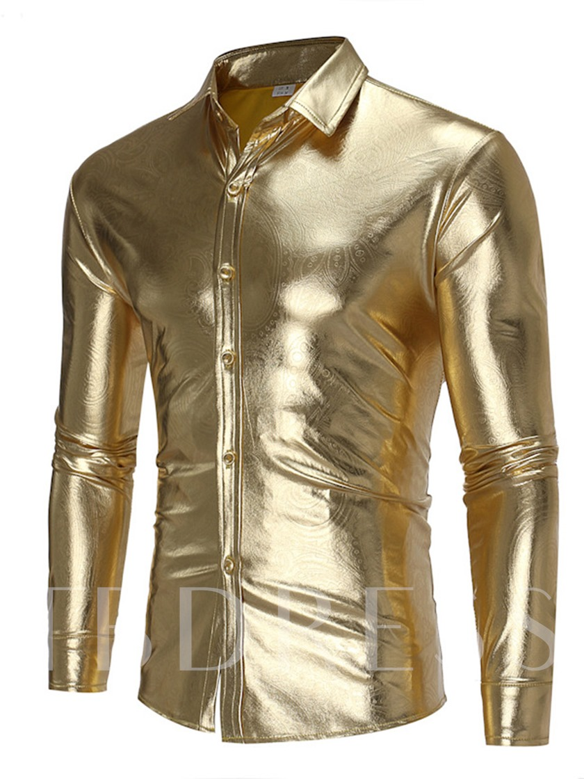Lapel Bright Golden Single-Breasted Slim Fit Men's Shirt