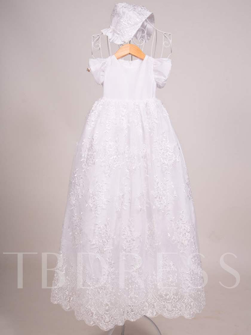 Sleeves Lace Christening Gown with Bonnet