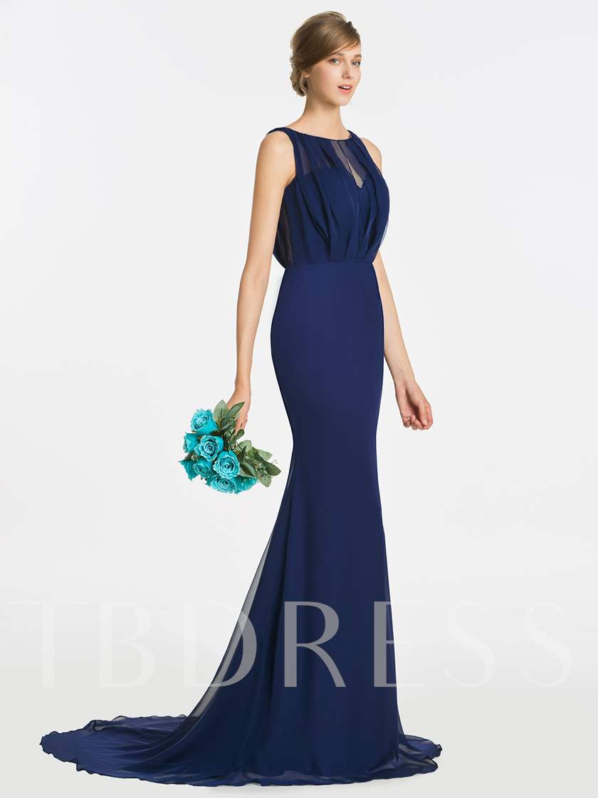 Pleats Long Mermiad Bridesmaid Dress