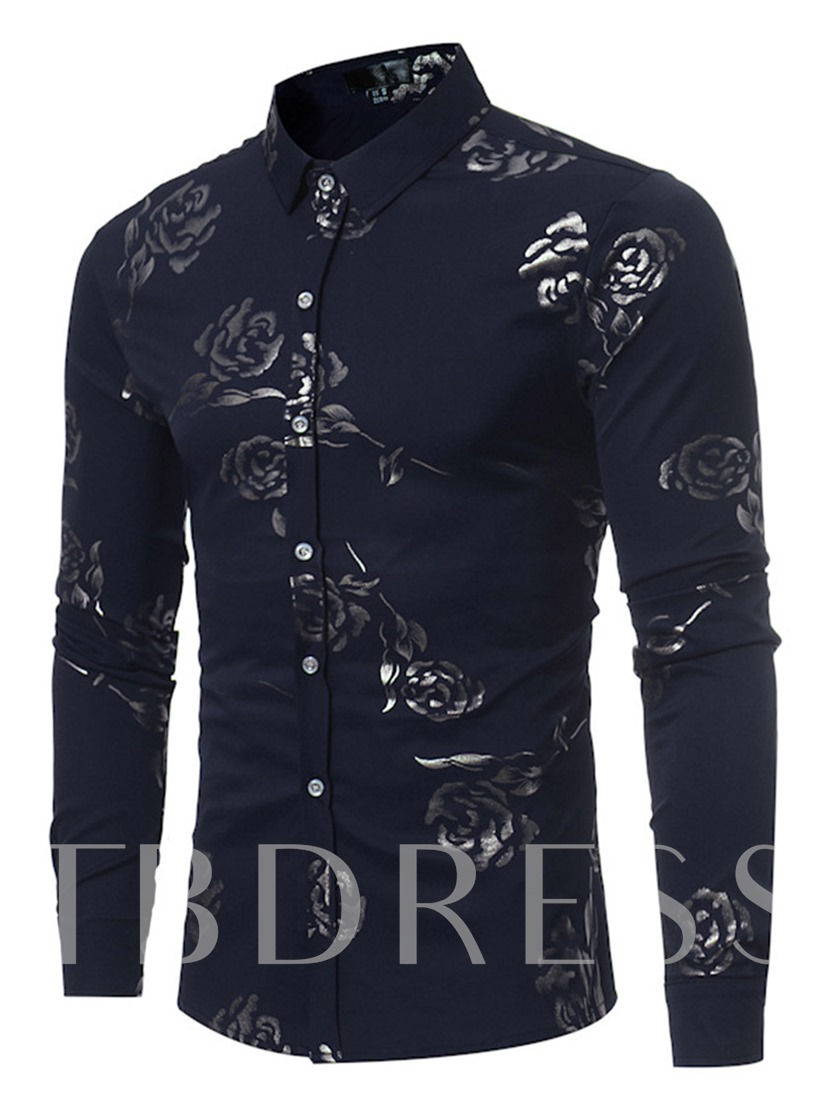 England Style Rose Printed Slim Fit Men's Button Shirt