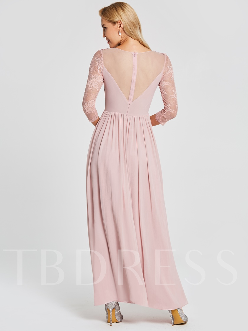 V Neck Long Sleeves Lace Appliques Prom Dress