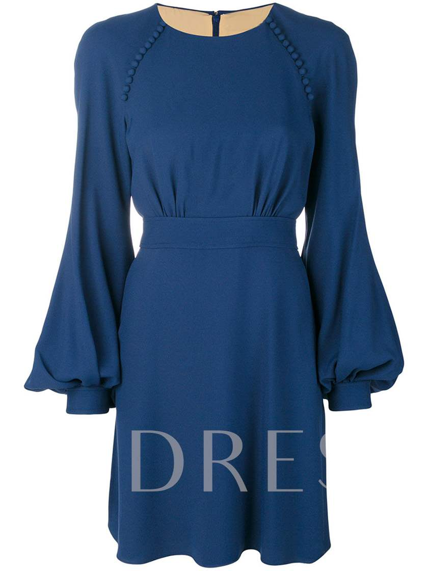 Blue Lantern Sleeve Women's Day Dress
