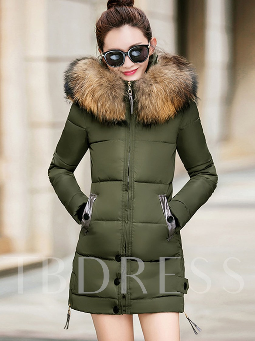 Zipper Faux Fur Hooded Women's Overcoat