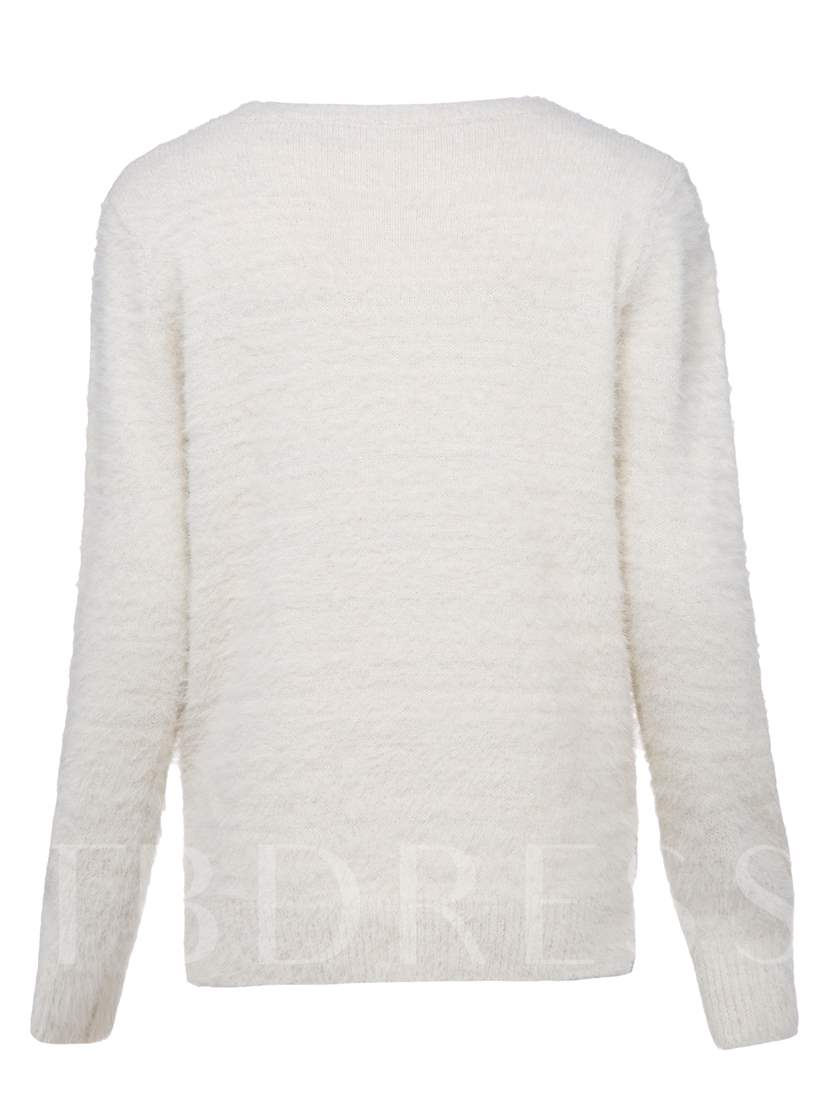 Round Neck Plant Embroideried Pullover Vacation Women's Sweater