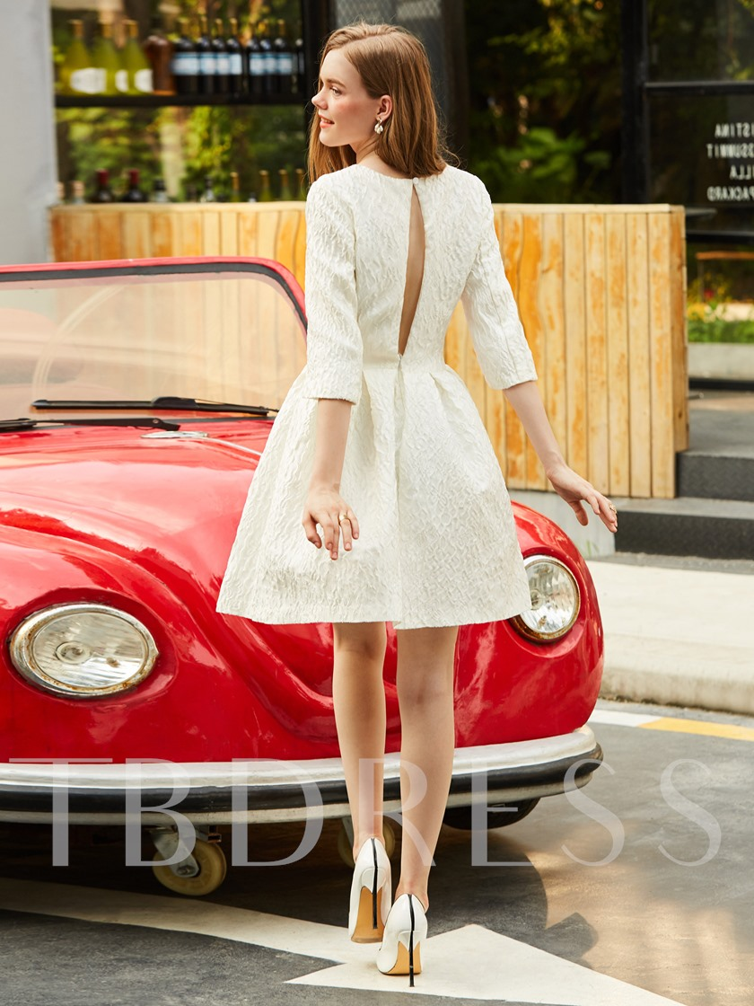White Half Sleeve Open Back Women's Day Dress