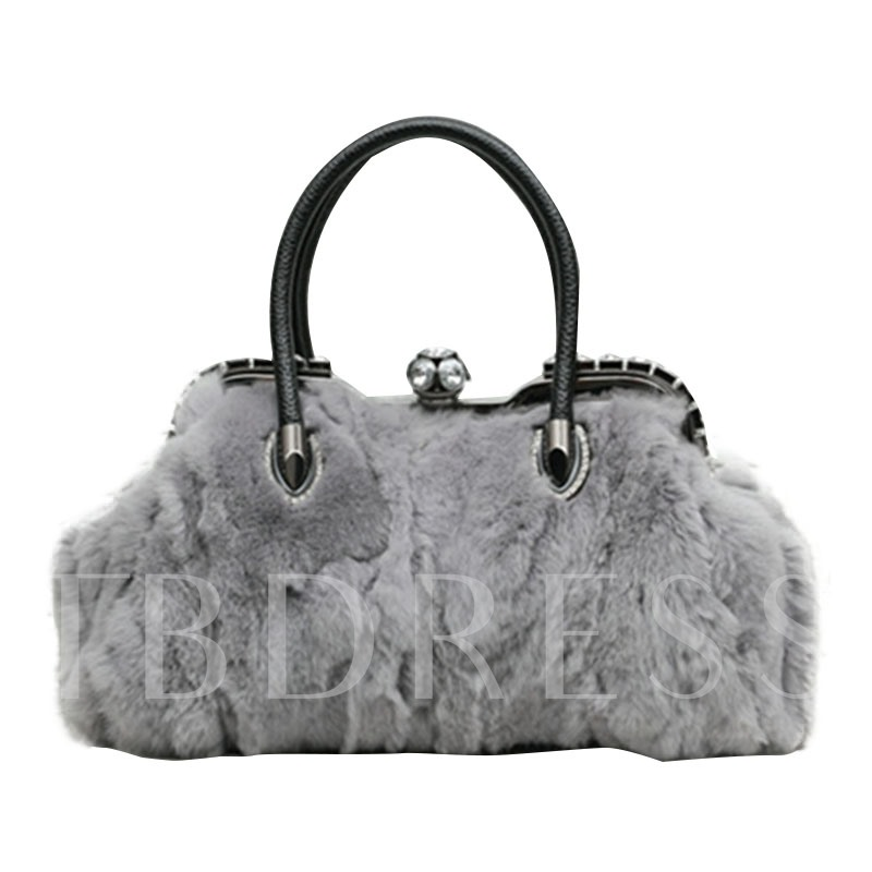 Korean Style Solid Color Plush Women Tote