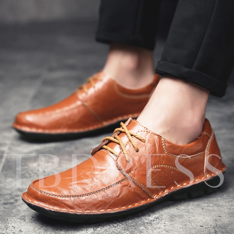 Thread Sewing Round Toe Lace-Up Men's Dress Shoes
