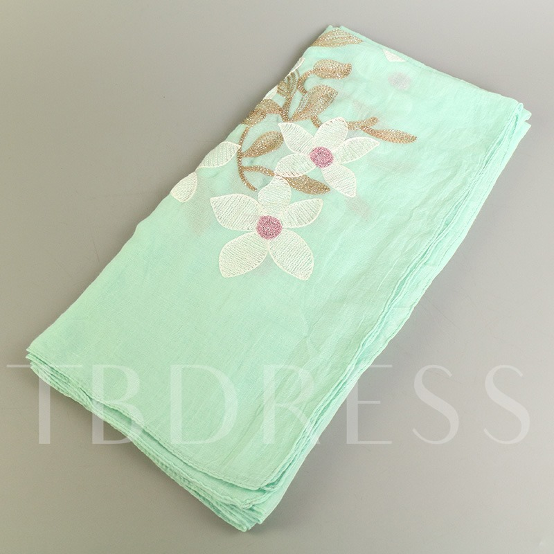 Lily Embroidery Cotton Ethnic Style Scarfs
