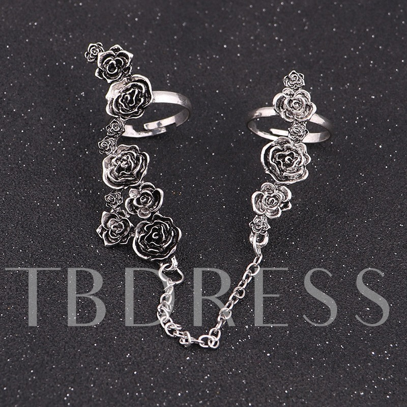 Exquisite Rose Alloy Silver Plated Ring