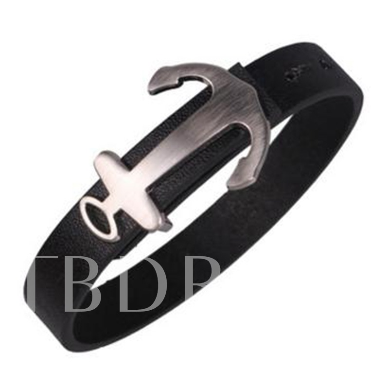 Anchor Shaped Alloy Artificial Leather Bracelet