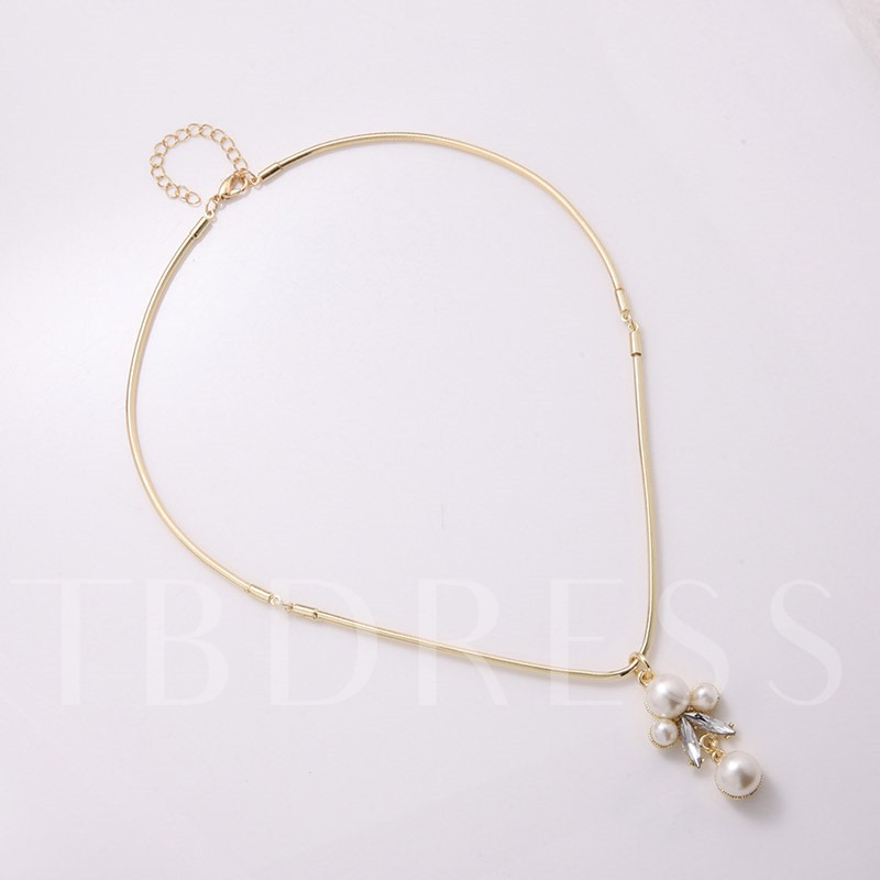 Pearl Rhinestone Inlaid Pendant Necklace