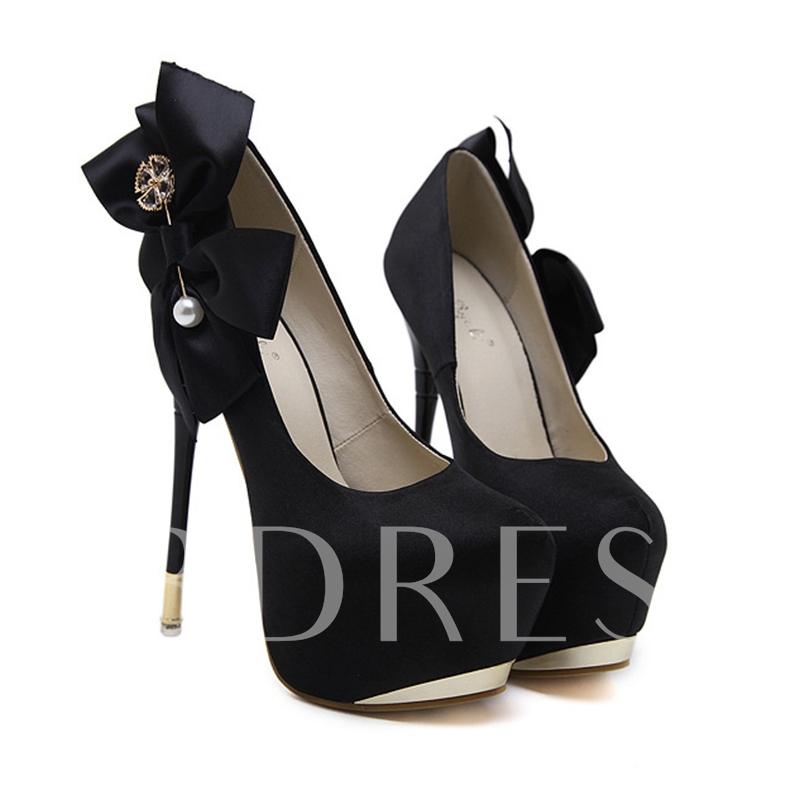 Ultra-High Heel Beads Bow Rhinestone Platform Prom Shoes