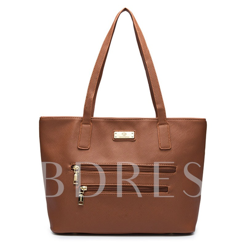 Concise Double Zipper Design Women Tote