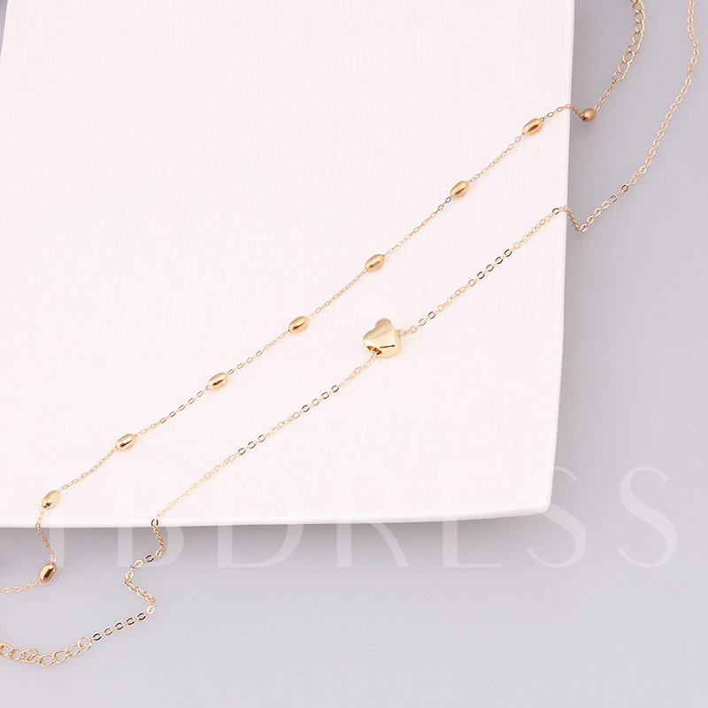 Heart Shaped Alloy Link Chain Double Necklace