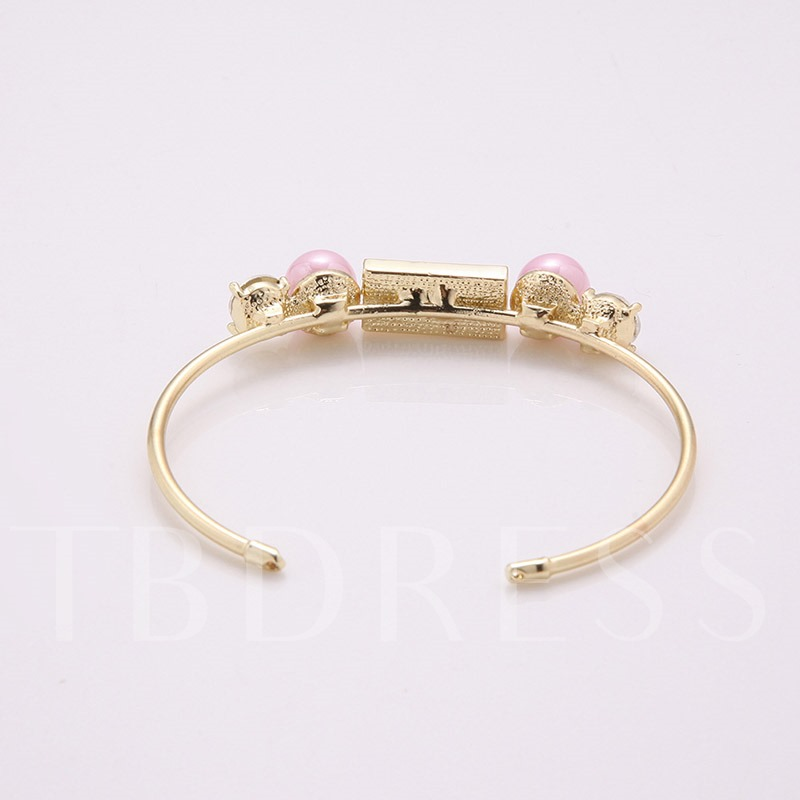 Diamante Pearl Inlaid Alloy Opening Bracelet
