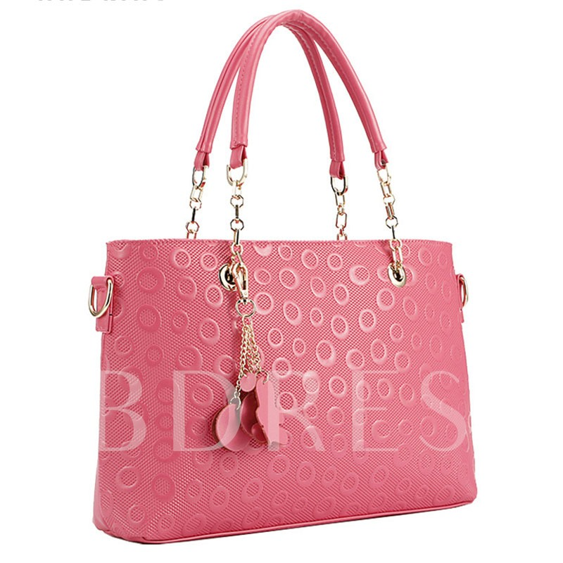 Simple Circle Pattern Solid Color Women Tote