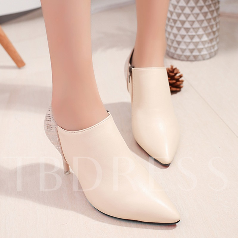 PU Side Zipper Pointed Toe Women's Fashion Boots