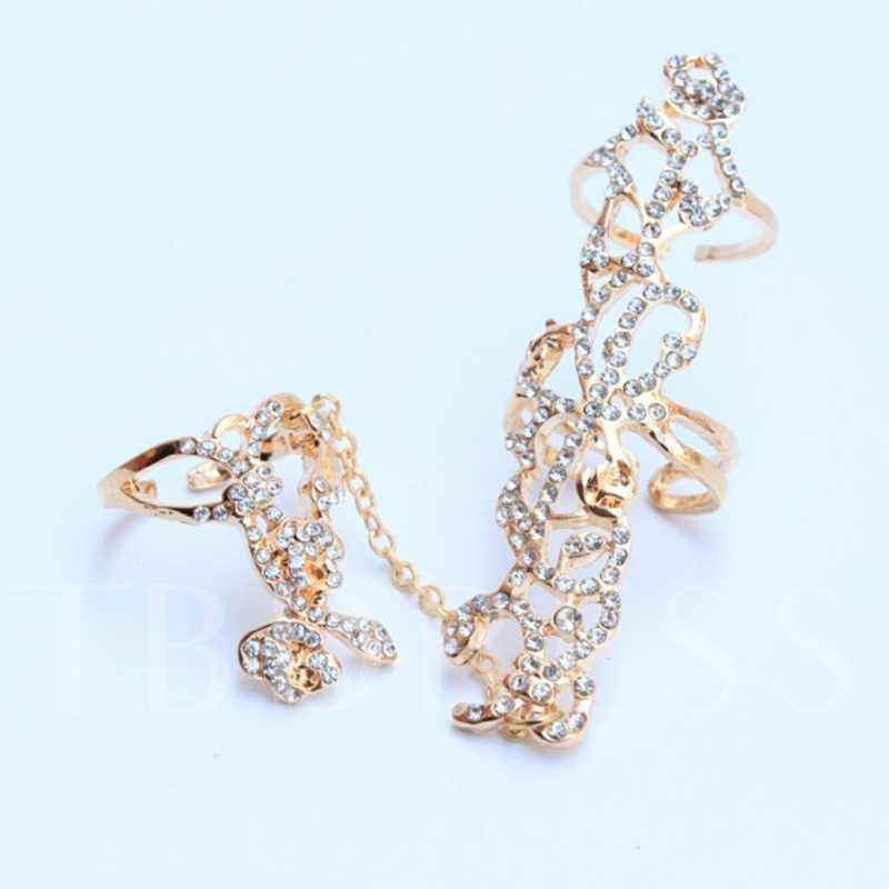 Korean Style Knuckle Alloy Diamante Joint Conjoined Ring