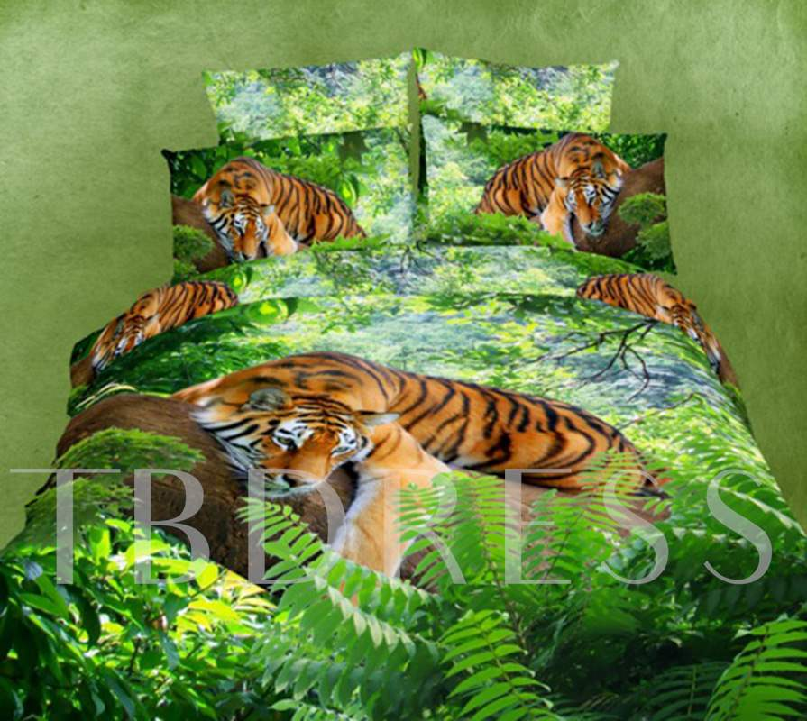 3D Tiger on a Tree Printed Cotton 4-Piece Bedding Sets/Duvet Covers