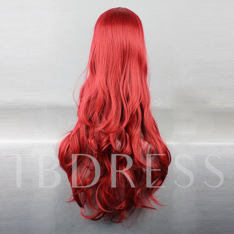Red Wave Synthetic Hair One Side Part Bangs Capless Wigs Long Halloween 28 Inches