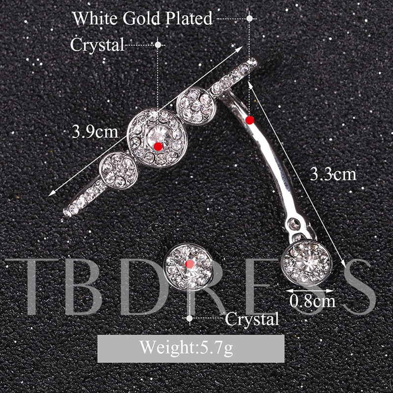 Diamante Round Alloy Ear-Hook Earrings