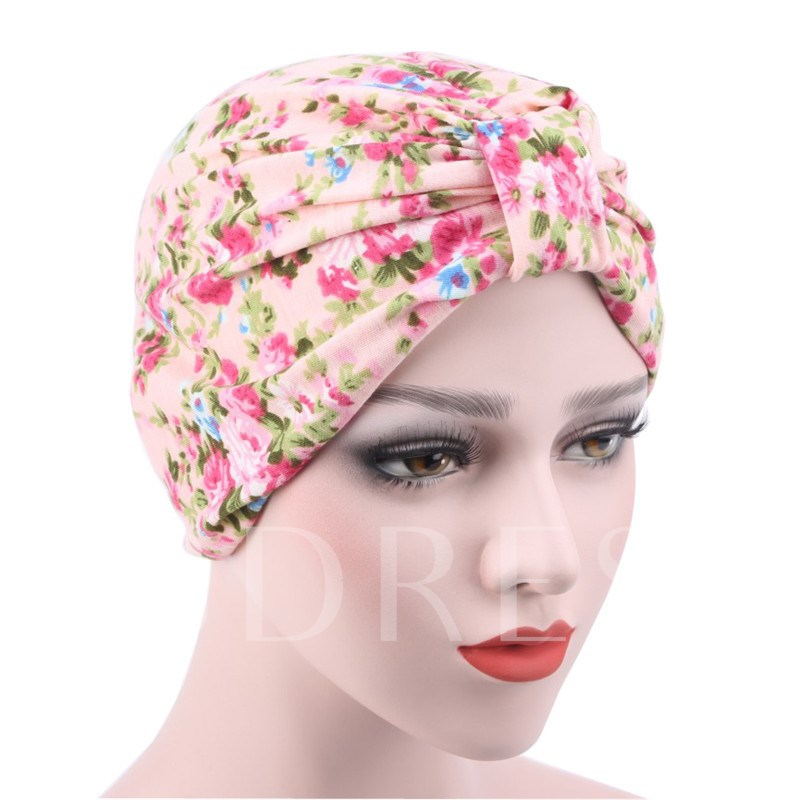 Floral Cotton Rural Style Moslem Skullies & Beanies Hats