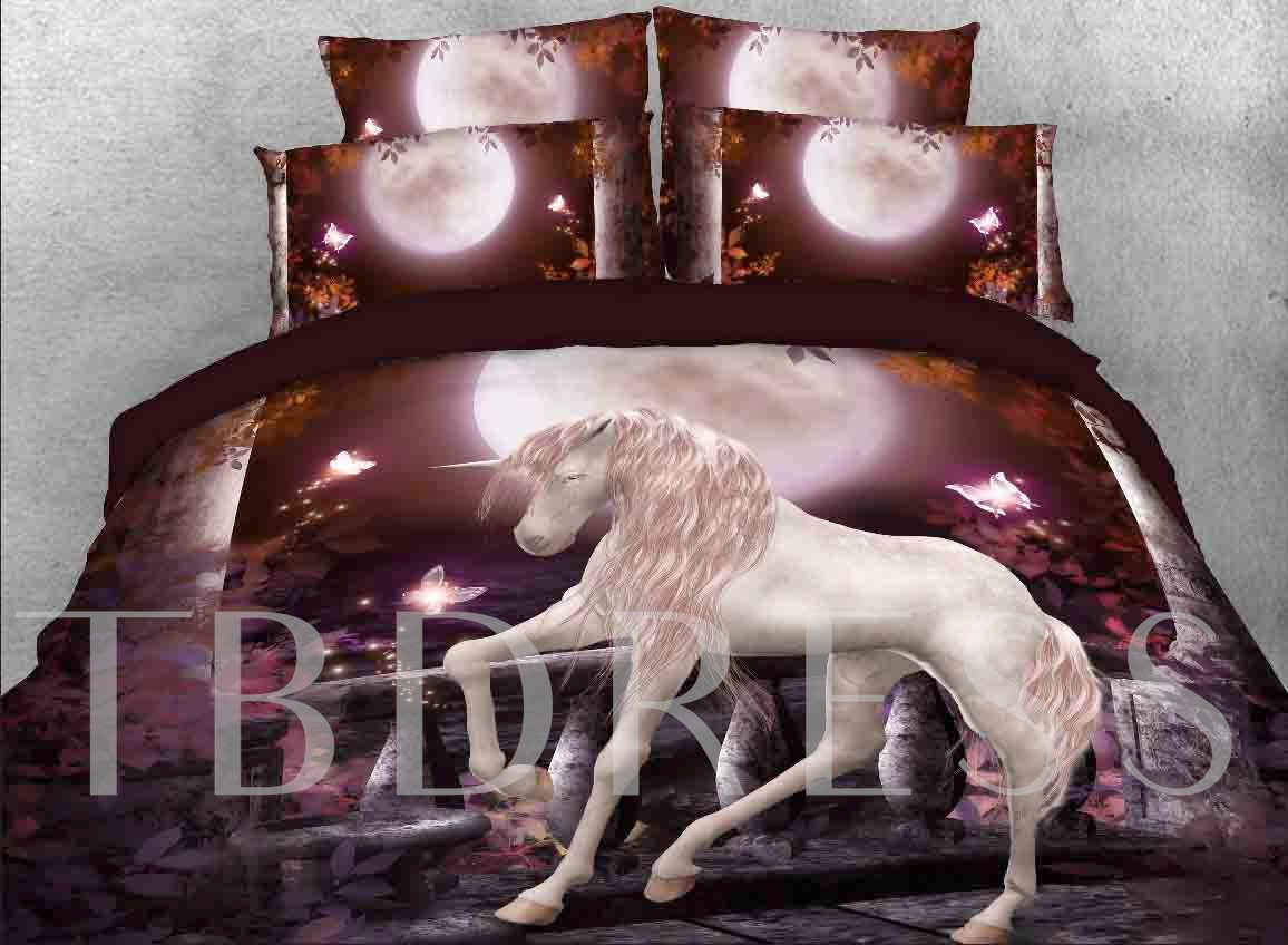 Unicorn and Full Moon Printed 4-Piece 3D Purple Bedding Sets/Duvet Covers