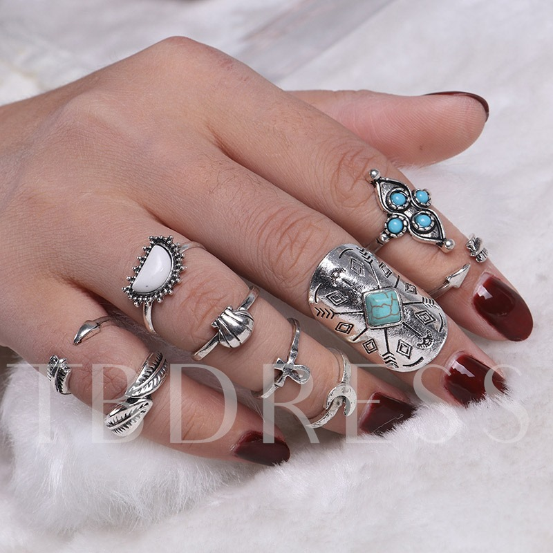 Totem Imitation Turquoise Joint Knuckle Ring