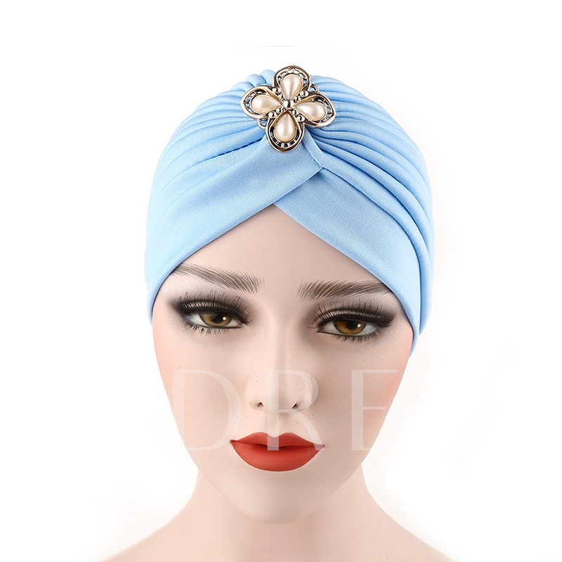 Artificial Pearl Flower Pleated Plain Moslem Hats