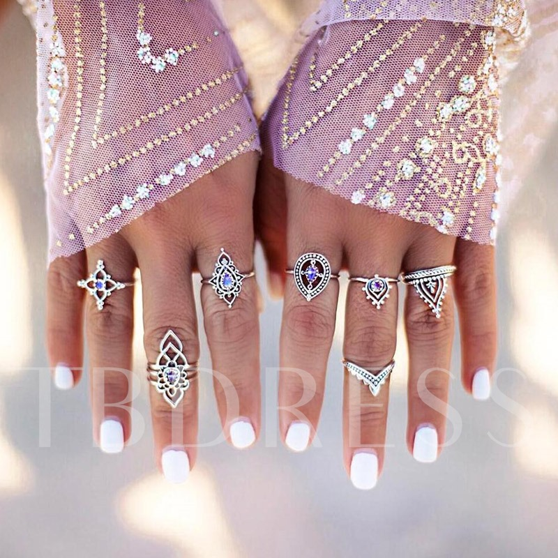 Synthetic Stone Hollow Out Alloy Geometric Knuckle Ring