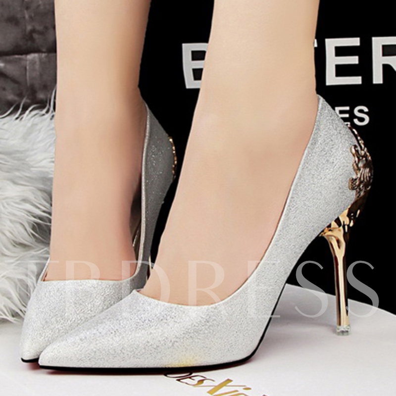 Glitter Sequin Stiletto Heel Banquet Slip-On Women's Prom Shoes