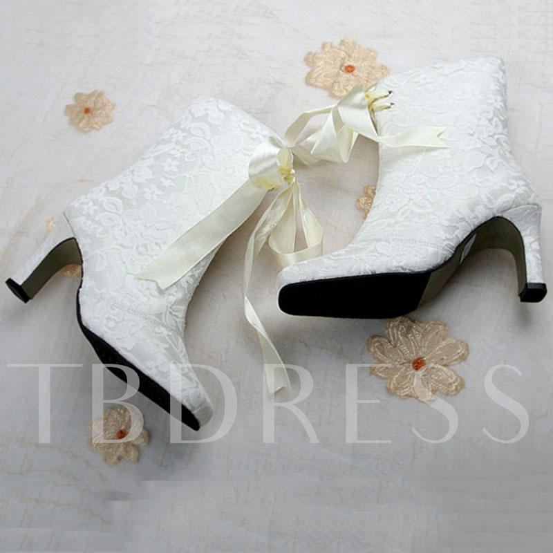 Image of Side Zipper Cross Strap Chunky Heel Womens White Boots Wedding Shoes