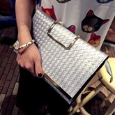 Occident Style Knitted Pattern Envelope Clutch