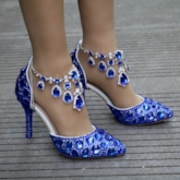 Blue Wedding Shoes for Women Chain Rhinestone Heels