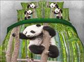 Panda Climbing Tree Printed Cotton 3D 4-Piece Bedding Sets/Duvet Covers