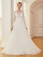 Long Sleeves Appliques Button Back Wedding Dress