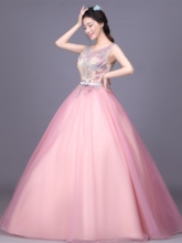 Ball Gown Scoop Appliques Bowknot Sashes FLoor-Length Quinceanera Dress