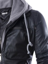 Hooded Plain Standard Straight Men's Leather Jacket