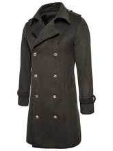 Lapel Long Pattern Double-Breasted Solid Color Slim Woolen Men's Trench Coat