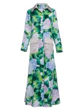 Polo Neck Floral Long Women's Vacation Overcoat