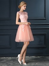 A-Line Lace Cap Sleeves Scoop Appliques Knee-Length Homecoming Dress